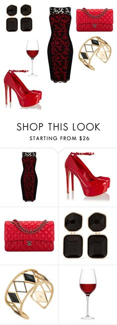 """""""Untitled #41"""" by lexi-morland ❤ liked on Polyvore featuring Karen Millen, Schutz, Chanel, Kenneth Jay Lane, Rebecca Minkoff and LSA International"""
