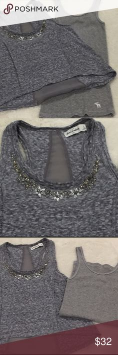 Abercrombie Kids Bundle, Sz Small(Rhinestone Neck) Adorable swing Top with Rhinestone neckline-can be worn over a long sleeve t-shirt for Fall or w/a Tank top for summer, and a GRAY Small Abercrombie Kids Tank both worn only 1 time in New Condition Bundle-both small Abercrombie Kids Abercrombie kids Shirts & Tops Tank Tops