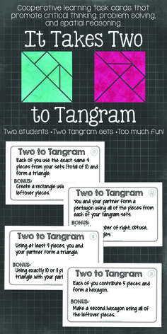 """It Takes Two to Tangram"" Cooperative learning tangrams! Activities that get will your students thinking and communicating. Math Resources, Math Activities, Leadership Activities, Math Worksheets, Math Games, Math Lab, Montessori, 5th Grade Math, Sixth Grade"