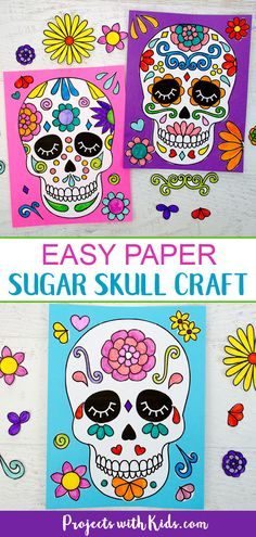 Make this easy colorful sugar skull craft with kids and learn about the Day of the Dead. Three different printable options make this paper craft perfect for kids of all ages! Sugar Skull Crafts, Sugar Skull Art, Clay Art Projects, Craft Projects For Kids, Fall Arts And Crafts, Holiday Crafts, Lady Bug, Painting For Kids, Art For Kids