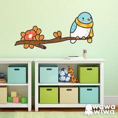 Vinilo infantiles WAWAWIWA: Pájaro con bufanda en la rama #vinilo #decoracion #wawawiwa #pared #infantil #habitacion #TeleAdhesivo Decorative Stickers, Bookcase, Shelves, Home Decor, Home, Xmas, Kids Rooms, Vinyls, Birds