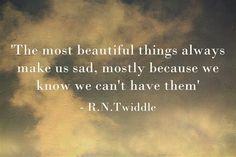 'The most beautiful things always make us sad, mostly because we know we can't have them'