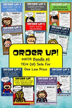 Welcome to a great resource that will allow your students to practice KEY skills in a self-checking, self-paced way. And NOW IT IS BUNDLED! The FIFTH group of 10 math sets of ORDER UP! are now in one easy to use bundle! ($)