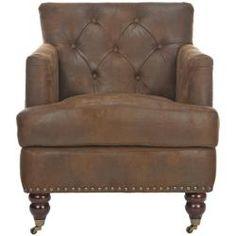 machester antiqued brown club chair