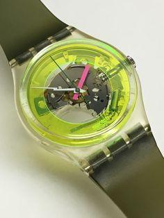 Vintage Swatch Watch Techno Sphere GK101 1985 Yellow Face Rare Green Jelly Bands Case And Paper Included Retro Gift Swatch by ThatIsSoFunny on Etsy