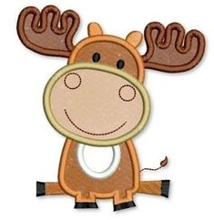 Baby MOOSE Applique 4x4 5x7 6x10 Machine Embroidery Design INSTANT Download on Etsy, $2.99