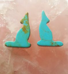 Pilot Mountain Turquoise Coyote Cabochon Pair/ backed/ by SaiyoStoneJewelry on Etsy
