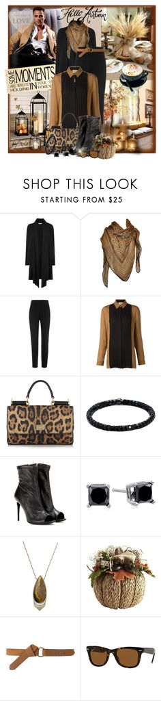 """""""Waterfall Cardigan with a Scarf"""" by eula-eldridge-tolliver ❤ liked on Polyvore featuring L.K.Bennett, Roberto Cavalli, Giambattista Valli, FAUSTO PUGLISI, Dolce&Gabbana, Michael Schmidt, Burberry, Monique Péan, MANGO and Ray-Ban"""