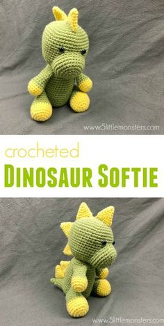 """Free crochet pattern for a Dinosaur Softie. Cute and Cuddly and almost 10"""" tall this little guy is so fun to make. Softies, Dinosaur Stuffed Animal"""