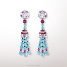 -Lanterne earrings, Palais de la chance collection- White gold, diamonds, pink sapphires, rubellites and turquoise. The Lanterne earrings from the Palais de la chance collection harmoniously combine the radiant colors of turquoise, rubellites and pink sapphires to pay homage to the festival of Lights in China, a celebration marking the end of the Chinese New Year festivities.