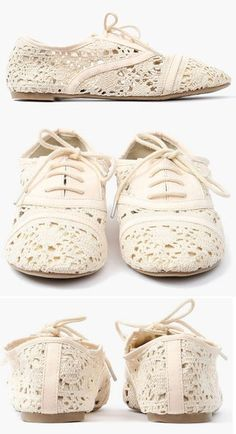 White Lace Oxfords Flats <3