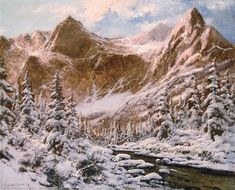 Artwork by Laszlo Neogrady, Snowy mountains, Made of Oil on canvas