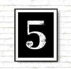 "Digital Print ""5"" Number Five Printable Poster - Numerology Vintage Number Art Decor Scandinavian Typography No 5 Wall Art Digital Download"