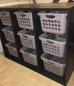 Laundry Basket Sorter, Laundry Basket Dresser, Laundry Basket Organization, Laundry Room Organization, Laundry Organizer, Laundry Sorter Hamper, Small Laundry Rooms, Laundry Room Design, Laundry Room Remodel