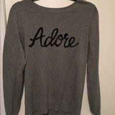 b648f5f3a7b8 Grey sweater Grey sweater with text on front. Super soft. Old Navy Sweaters  Crew