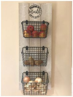 Kitchen Organizer / Fruit and Veggie Organizer / Kitchen Baskets / Farmer& . Kitchen Organizer / Fruit and Veggie Organizer / Kitchen Baskets / Farmer& Market Sign / Fruit and Source by etsy Diy Kitchen Storage, Kitchen Pantry, Home Decor Kitchen, Rustic Kitchen, Country Kitchen, Diy Home Decor, Kitchen Decor Themes, Rooster Kitchen Decor, Kitchen Items