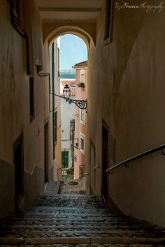 Narrow (and steep!) side street in Alfama, Lisbon's oldest quarter.