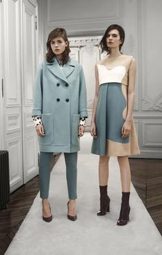 Chloé: Brush stroke patchwork silk shirt Stretch wool ski pants Double-buttoned wool coat Round