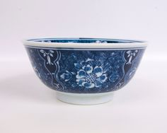 Vintage Asian Rice Bowl Cobalt Blue Floral Porcelain Soup Noodle Bowl Flow Blue Dark Cobalt Blue and White Japanese Wide Low footed Tea Bowl by LeVintageGalleria on Etsy https://www.etsy.com/listing/235276504/vintage-asian-rice-bowl-cobalt-blue