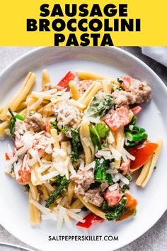 When I think of Italian comfort food recipes, this sausage broccolini pasta is always on top of my list. It's the perfect easy pasta recipes you can make as dinner for weeknights. Also great as Italian main dish for a party because it's so easy to put together and served within minutes. Get the recipe here and start making that delicious peppers sausage and broccolini pasta now! Seafood Pasta Recipes, Yummy Pasta Recipes, Chicken Pasta Recipes, Healthy Pasta Dishes, Healthy Pastas, Italian Main Dishes, Recipes With Few Ingredients, Sausage Pasta