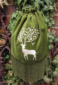 Enchanted Stag - Green velveteen purse RESERVE LISTING!
