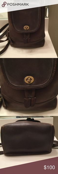 Vintage leather Coach backpack Fabulous condition!! Authentic brown Leather, adjustable straps. Inside has long zipper compartment. No. B9 P-9960 Coach Bags Backpacks