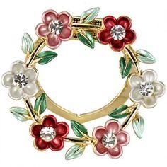 Daisy Ring Crystal Brooch Pin - Pink