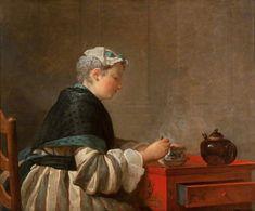 A Lady Taking Tea ~ Jean-Baptiste-Siméon Chardin ~ (French, 1699 – 1779)