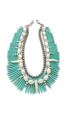 """""""DANNIJO Malawi Necklace"""" made with dyed magnesite spikes, Ethiopian prayer beads and various other beads."""