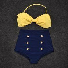 Vintage Retro Pin Up hoch taillierte Bikini Bow Top + Bottom Badeanzug blau gelb - Swimsuit - Vintage Summer Wear, Summer Outfits, Cute Outfits, Cute Bathing Suits, Vintage Bathing Suits, Yellow Bathing Suit, Vintage Dresses, Vintage Outfits, Blue Swimsuit