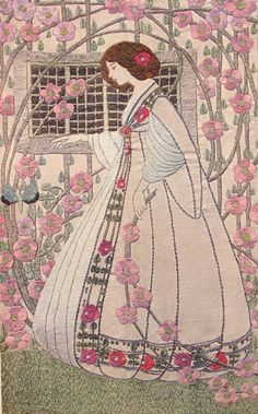 1909 ART NOUVEAU by Helen Lamb - Embroidered Panel - Photolithography. Lady…