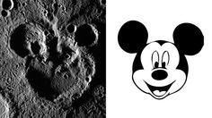 よっ、ミッキー!さすが世界のミッキーマウスです。地球だけではなく、宇宙にもその幅を広げていたとは。上の画像の左側、これは、NASAの水星探索...