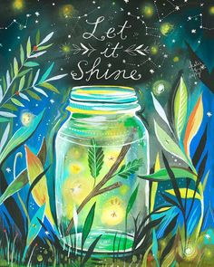 "Enhance your walls with the beauty and warmth of a summertime night with this GreenBox Art Murals That Stick ""Let it Shine"" Wall Art. A ""Let it Shine"" message is written above a jar colorfully glowing from within by the light of fireflies. Art Prints, Daisy Art, Illustration, Wall Art, Painting, Art, Artsy, Canvas Art, Original Watercolors"