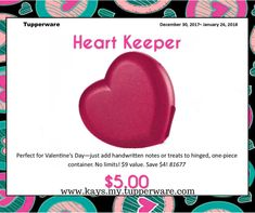 Tupperware Heart Keeper  Easy Order Online: http://www.tupperware.com/heart-keeper-0117.html  PRODUCT DETAILS Perfect for Valentine's Day—just add handwritten notes or treats to hinged, one-piece container.  Starlight Lipstick color adds a kiss of sparkle. Hinged, one-piece container Dishwasher safe Limited Lifetime Warranty  #tupperwarewithkay