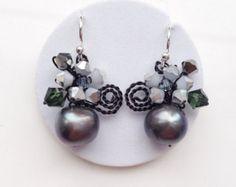Collar/collar de la perla collar collar flor por PastelGems en Etsy