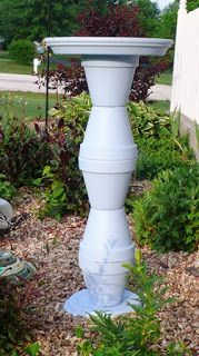 DIY Bird bath - 5 Clay pots 1 medium clay saucer 1 Large clay Saucer Paint Strong Glue Sealer