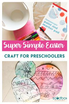 Create a fun Easter craft for preschoolers with basic materials that you have at home. Design an Easter egg with a tie dye effect that is vibrant and fun. Indoor Activities For Kids, Easter Activities, Preschool Crafts, Toddler Activities, Preschool Activities, Crafts For Kids, Summer Activities, Family Activities, Outdoor Activities