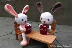 made these bunnies using our Lil' Granny Bunny's Crochet Pattern