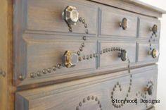 a nailhead trim dresser, home decor, painted furniture, Close up of nailhead trim and Bone Knobs