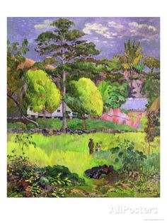 Learn more about Landscape (Paysage) 1891 Paul Gauguin - oil artwork, painted by one of the most celebrated masters in the history of art. Paul Gauguin, Tahiti, Henri Matisse, Landscape Art, Landscape Paintings, Kunst Online, Georges Seurat, Impressionist Artists, Great Paintings