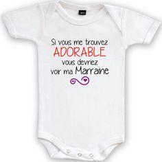 Body bébé Humour Ma marraine va m/'apprendre tout son savoir faire...