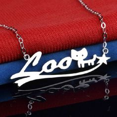 Personalized Sterling Silver Name Necklace with Cat