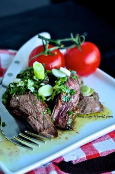 Churrasco with Chimichurri Sauce (grilled skirt steak with a herb-vinegar sauce)
