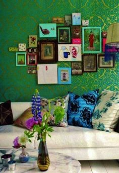 I like how closely the frames are grouped together:  Wall Collage