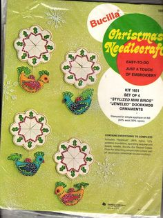 Vintage Bucilla Felt Applique Kit BIRD DOOR KNOB CHRISTMAS DECORATIONS 1651 MIP