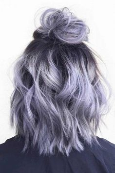 Silver gray ombre hair color ideas for short hair managed to supplant the burnin.,Silver gray ombre hair color ideas for short hair managed to supplant the burning red, cold blue and extravagant purple hair dye. This shade is quite,. Grey Ombre Hair, Dyed Hair Purple, Dye My Hair, Gray Purple Hair, Silver Lavender Hair, Short Lavender Hair, Purple Bob, Light Purple Hair, Dyed Hair Pastel