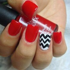 Red and Black nails for women 2015