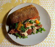 Sandwich med flanksteak og østershatte à la crème