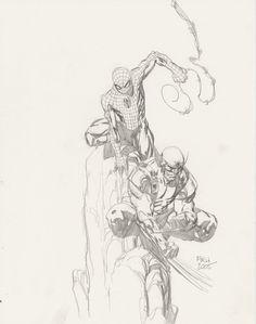 David Finch Spiderman Wolverine Comic Art