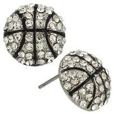 Clear Crystal Basketball Stud Earrings Fashion Jewelry | PammyJ Fashions